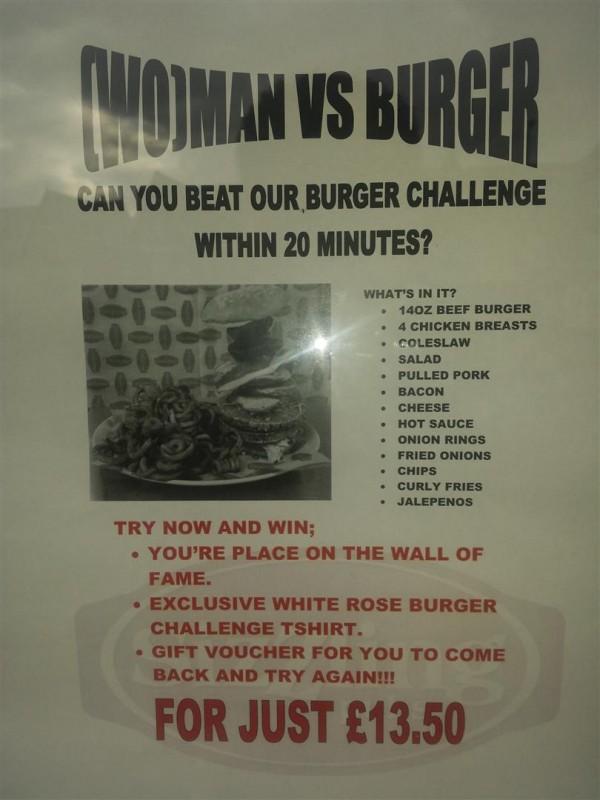 Wo Man Vs Burger Challenge At The White Rose Eating